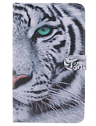 conception de tigre blanc cuir PU cas complet du corps avec support et fente pour carte samsung galaxy tab e 8.0 T377 T375