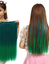venda quente alta resistência à temperatura de várias cores de 26 polegadas extensão reta longa peruca 5 clipe