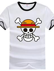 Inspiriert von One Piece Monkey D. Luffy Anime Cosplay Kostüme Cosplay-T-Shirt Druck Weiß Kurze Ärmel T-Shirt-Ärmel