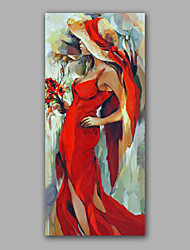 Stretchered Handmade Beautiful Madam Oil Painting Hotel Lobby Wall Art Decoration