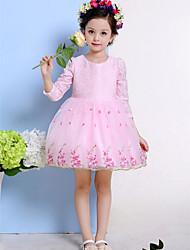 A-line Knee-length Flower Girl Dress-Cotton / Tulle 3/4 Length Sleeve