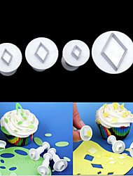 Diamond Rhombus Cake Cookie Plunger Sugarcraft Cutters Fondant Tool Cake Decorating Mold,Set of 4