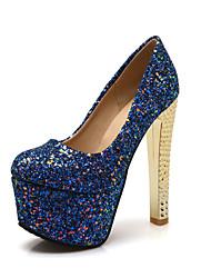 Calçados Femininos-Saltos-Saltos-Salto Grosso-Preto / Azul / Prateado-Courino-Casual