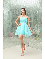 Cocktail Party Dress A-line Strapless Short / Mini Organza with Draping