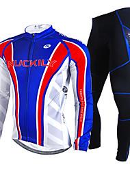 NUCKILY Vélo/Cyclisme Maillot + Pantalon/Maillot+Collant / Ensemble de Vêtements/Tenus Homme Manches longuesEtanche / Pare-vent / Garder