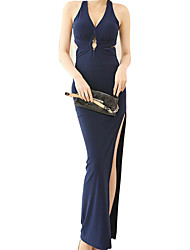 Women's Casual/Daily Street chic Sheath Dress,Solid Halter Maxi Sleeveless Blue Polyester Summer