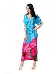 De las mujeres Corte Swing Vestido Playa / Tallas Grandes Vintage / Boho,Estampado Escote en V Profunda Maxi Manga Corta AzulAlgodón /