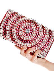 L.west Women Acrylic Jewels Pearl Diamonds Evening Bag