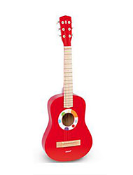 Small Guitar Wood Red Music Toy For Kids