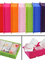 6-Cavity Large Silicone Drink Ice Cube Pudding Jelly Soap Mold Mould Tray Tools(Random Color)