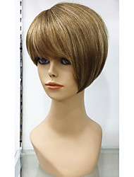 Exquisite 100% Human Hair Wig Natural glueless cap wig Hair Short Golden Brown with Highlights Remy Hair Wigs