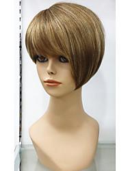 exquise perruque de cheveux humains cheveux 100% perruque de plafonnement des sans colle naturelle courte dorée avec des reflets remy