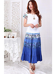 Women's Floral Blue / Green Skirts,Beach Maxi