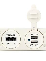 Car Truck Vehicle Dual USB Socket Charger Digital Volt Meter Voltmeter White