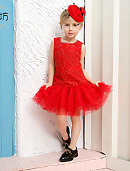 Girl's Red Dress,Polyester Summer