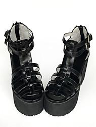 Punk Cuero 12 Tacón Cuña Negro Zapatos de Lolita