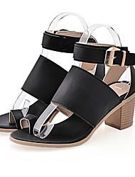 Zapatos de mujer-Tacón Robusto-Tacones-Sandalias-Oficina y Trabajo / Vestido / Casual-Semicuero-Negro / Blanco