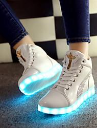 Da donna-Sneakers-Tempo libero Casual Sportivo-Light Up Shoes-Piatto-Finta pelle-Bianco Nero