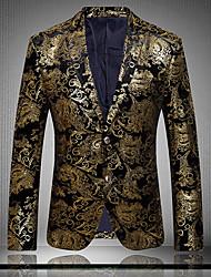 Blazer Hommes,Imprimé Décontracté / Quotidien Grandes Tailles Manches Longues Coton Polyester