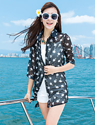 Women's Beach Boho / Street chic Summer Shirt,Print Shirt Collar ½ Length Sleeve Black Rayon / Polyester Thin