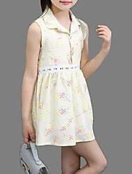 Menina de Vestido Verão Algodão Rosa / Branco / Amarelo