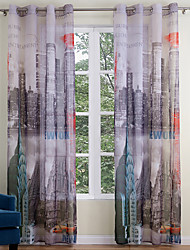 Two Panels Modern Architecture Multi-color Living Room Polyester Sheer Curtains Shades 140cm Per Panel