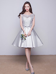 Knee-length Satin Bridesmaid Dress-Silver Ball Gown Jewel
