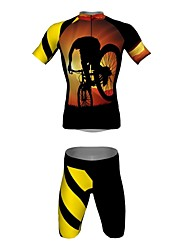 MYKING Men's Cycling Bike Short Sleeve Clothing Set Bicycle Wear Suit Jersey and Shorts