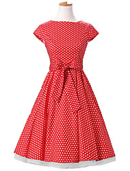 50s Era Vintage Style Cap Sleeves Rockabilly Dress Cosplay Costume Red White Mini Polka Dot (with Petticoat)
