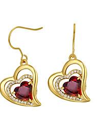 Boucles d'oreilles Cristal Zircon Alliage Forme de Coeur Orange Rouge Bijoux Mariage Soirée Quotidien Décontracté 1 paire