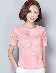 Women's Solid Pink / White Blouse,V Neck Short Sleeve
