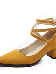 Women's Shoes Fleece Chunky Heel Heels Heels Wedding / Party & Evening / Dress / Casual Black / Blue / Yellow / Gray