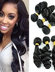 "3pcs/Lot 8""-30"" Mix Size Color #1B Peruvian Loose Wave Virgin Human Hair Extensions Bundles Thick & Soft"