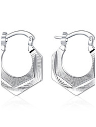 lureme®Fashion Style 925 Sterling Silver Geometry Shaped Hoop Earrings