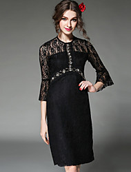 Women Dress Sexy See Through Embroidery Lace Patchwork Bead Slim 3/4 Sleeve Vintage Elegant Dress