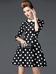 Women's Vintage Polka Dot A Line Dress,Bow Above Knee Polyester