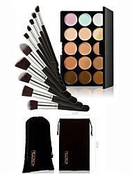 Concealer Palette 15 Colors Contour Face Cream & 10PC Set Powder Brush