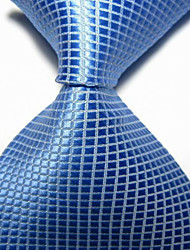 New Blue Checked JACQUARD WOVEN Men's Tie Necktie TIE2022