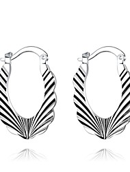 lureme®Fashion Style 925 Sterling Silver Irregular Shaped Hoop Earrings