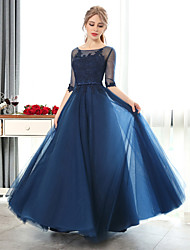 Formal Evening Dress-Ruby / Dark Navy A-line Scoop Floor-length Lace / Tulle