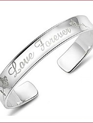 Women's Bracelet Sterling Silver Plated Wide Sample Love Forever Cuff Bracelet Wedding for Bride