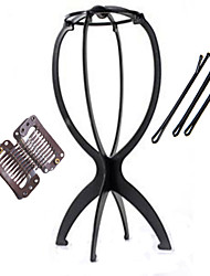 Special Folding Stable Wig Display Stand 1 Piece with 5 Hair Clips Holder