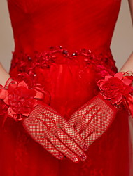 Wrist Length Fingertips Glove Satin Lace Net Bridal Gloves Party/ Evening Gloves Floral lace