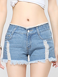 Women's Solid Blue Jeans / Shorts Pants,Casual / Day / Simple Hole Tassel Low-waist Fashion