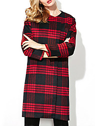 Women's Striped Red Pea Coats,Simple Long Sleeve Polyester