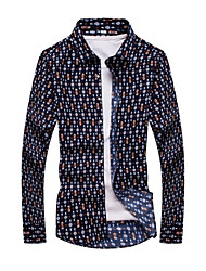 Men's Print Casual / Formal Shirt,Cotton Long Sleeve Blue