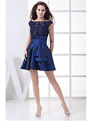 Cocktail Party Dress-Dark Navy A-line Scoop Short/Mini Satin