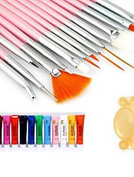 28PCS Nail Art Paint Kit(15PCS Red Brush + 12PCS Paint + 1PC Random Color Palette)