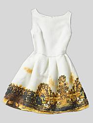 Vestido Chica de-Todas las Temporadas-Poliéster-Blanco