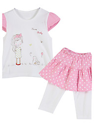 Ensemble de Vêtements Fille de Coton Eté / Printemps Rose